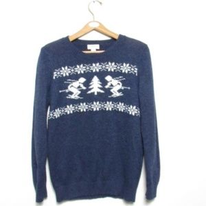Loft Navy Ski Christmas Sweater sz L